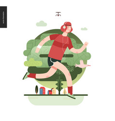 runners - guy exercising vector image