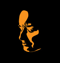 Sad woman face in contrast light portrait vector