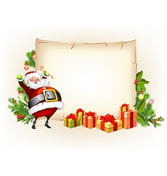 Santa Claus holding candy and standing beside vector