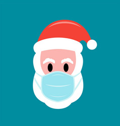 santa claus in protective face mask flat icon vector image