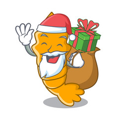 Santa with gift steamed fresh raw shrimp on mascot vector