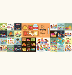school lunch set composition posters vector image
