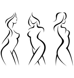 set of stylized silhouettes woman body vector image