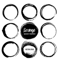 set round grunge frames vector image