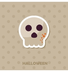 Skull icon Halloween sticker vector