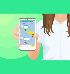 smartphone with kakao talk messenger in girls hand vector image