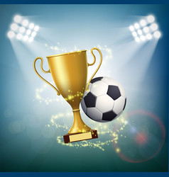 soccer ball with the golden cup of championship vector image
