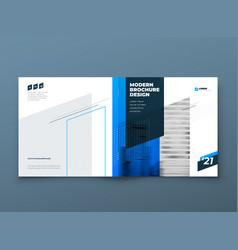 Square brochure template design blue corporate vector