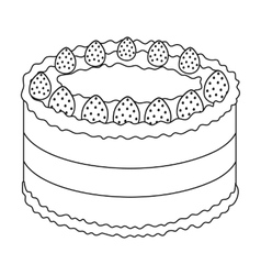 Strawberry cake icon in outline style isolated on vector
