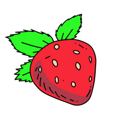 Strawberry cartoon hand drawn image vector