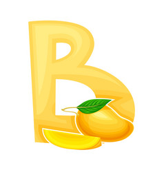 Summer alphabetical character with mango fruit vector