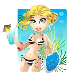 summer blond girl on the beach vector image