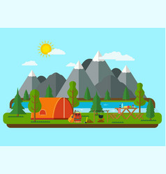 Summer landscapes picnic barbecue vector