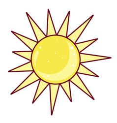 sun icon bright sunrise weather yellow element vector image
