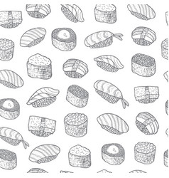 sushi set pattern asian food japanese cooking vector image