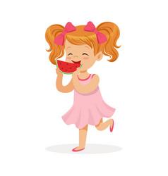 sweet little redhead girl enjoying eating vector image