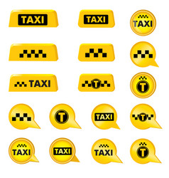 taxi header signs taxi icon set call taxi pointer vector image