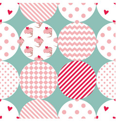 Tile patchwork pattern with polka dots vector