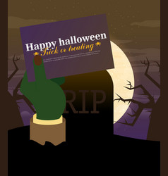 Tomb stone zombie hand from ground flat halloween vector