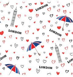 Travel london city seamless pattern with love vector