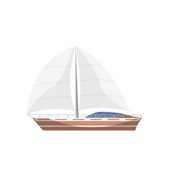 Travel sailboat side view isolated icon vector