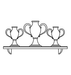trophy cups on shelf in black and white vector image