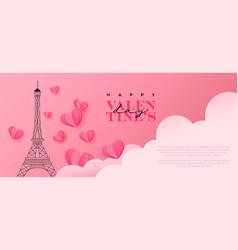 valentines day pink paper cut paris banner vector image