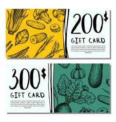 vegan cafe gift card set vector image