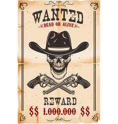 wanted poster template cowboy skull with crossed vector image