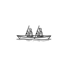 water sport canoe hand drawn outline doodle icon vector image