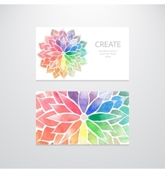 Watercolor rainbow flowers Business cards vector