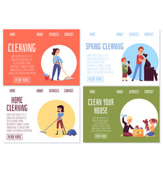 web banners for family house cleaning and vector image