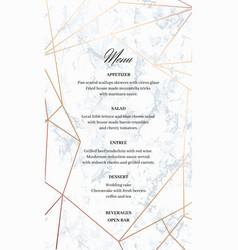wedding menu template card geometric design vector image