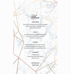 Wedding menu template card of geometric design vector