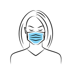 woman in a medical mask vector image
