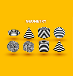 yellow background optical illusion shapes vector image