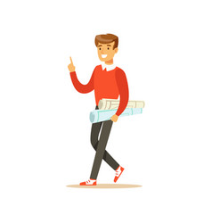 young smiling male student walking with paper vector image