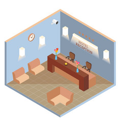 hotel reception interior in isometric style vector image vector image