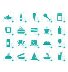 stylized shop and foods icons vector image