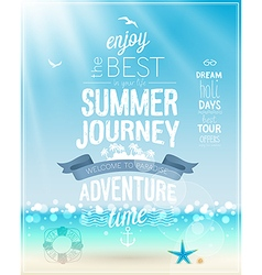 Summer Journey poster with tropical background vector image vector image