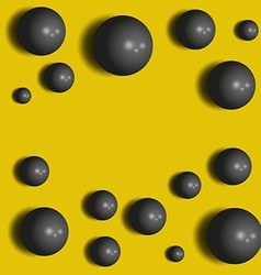 3D black spheres on the yellow abstract background vector image vector image