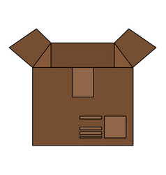 Color image cartoon box of cardboard opened vector