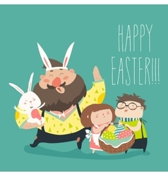 Happy father with kids celebrating Easter vector image