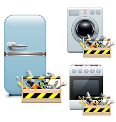 Household appliance repair icons vector
