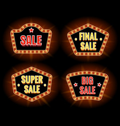retro sale lightbulb signs vector image