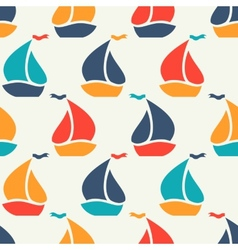 Seamless pattern of colorful sailboat shape vector image vector image