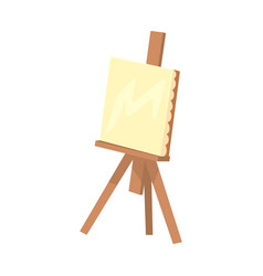 wooden easel with canvas artistic equipment vector image