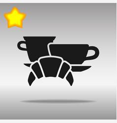 breakfast black icon button logo symbol vector image