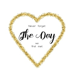 Card with love words in the golden glittering vector image vector image