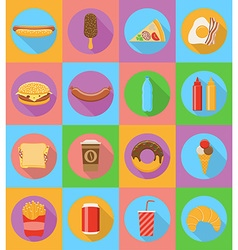 fast food flat icons 19 vector image vector image